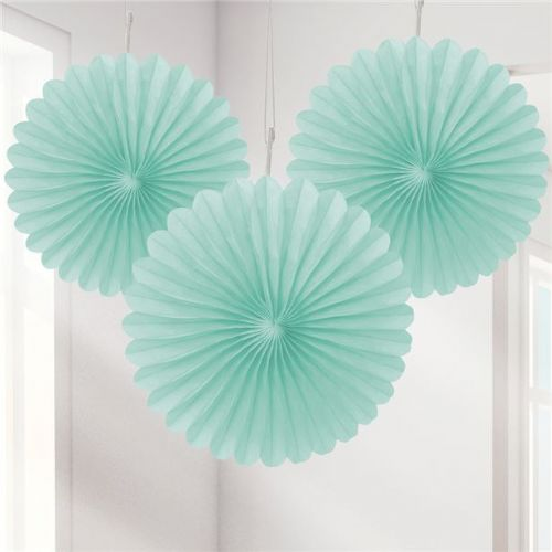 Mint Green Mini Paper Fan Decorations (3pk)
